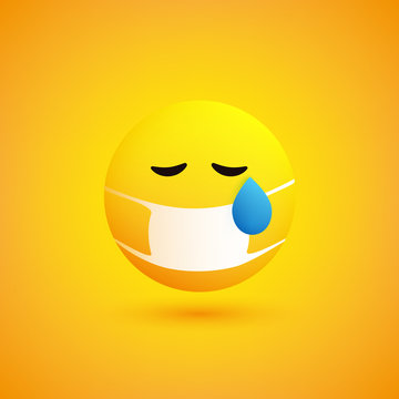 Sad, Concerned Crying Emoticon with Teardrop and Medical Mask on Yellow Background - Vector Design