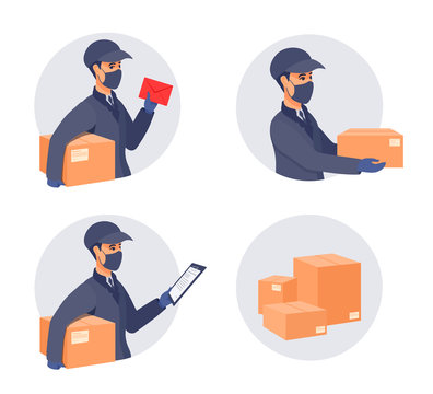 Courier delivery box with the order. A postal worker, a mailman wear a cap, a uniform, medical gloves, mask covered face. Sickness prevention during coronavirus.