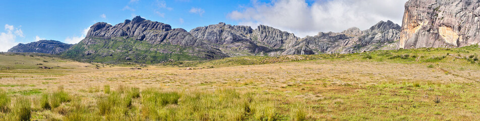 Andringitra Massif in Madagascar, wide panorama as seen from valley during trek to Pic Boby peak