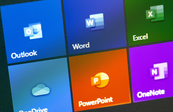 Microsoft Office icon apps on the display notebook closeup. Microsoft Office is an office suite of applications created by Microsoft. Moscow, Russia - August 24, 2019