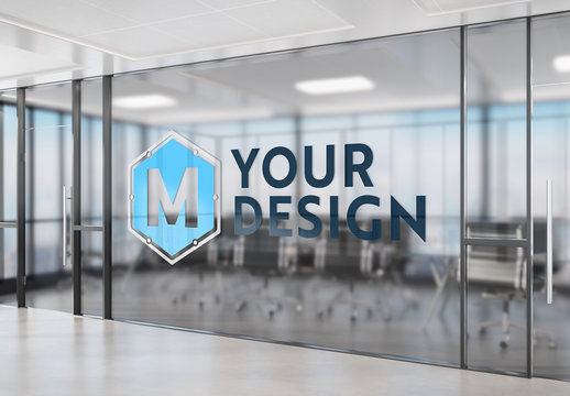 Logo on Tinted Office Window Mockup