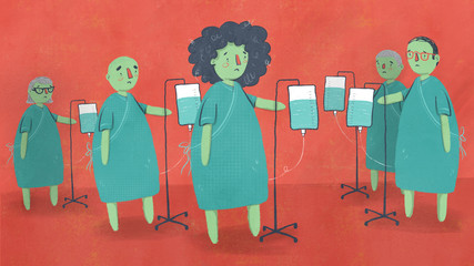 Sick Patients Standing with IV Drip Bags in Hospital