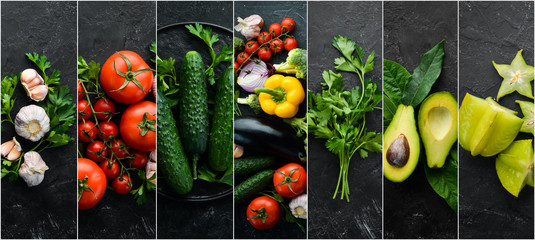 Fotomurales - Photo collages. Fresh vegetables on black background. Banner.