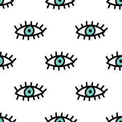 Evil eyes seamless repeat vector pattern for wrapping paper.fabrics,textile.