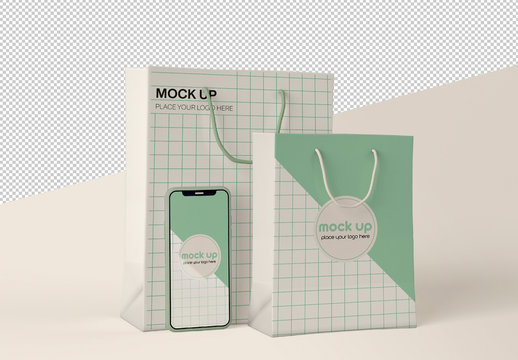 Smartphone and Paper Shopping Bag Mockup