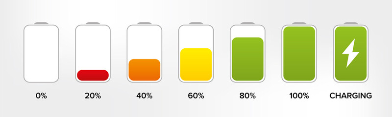 Obraz Set of battery charge level indicator in percent - vector - fototapety do salonu