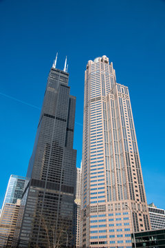Willis tower behind the 311 South Wacker Drive