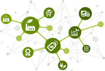 Sustainable business vector illustration. Concept with connected icons related to ecology and green technology in business.
