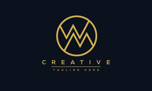 WM Mountain Logo Design Template Vector monogram. Modern letters WM or MW.