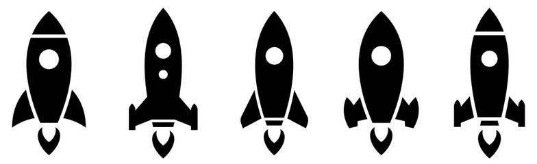Rocket simple icon set vector