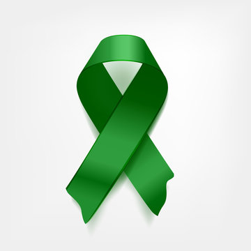 symbolic green crossed ribbon on white background. Problem of cerebral palsy, Lyme disease problem, kidney cancer problem.  Vector illustration.