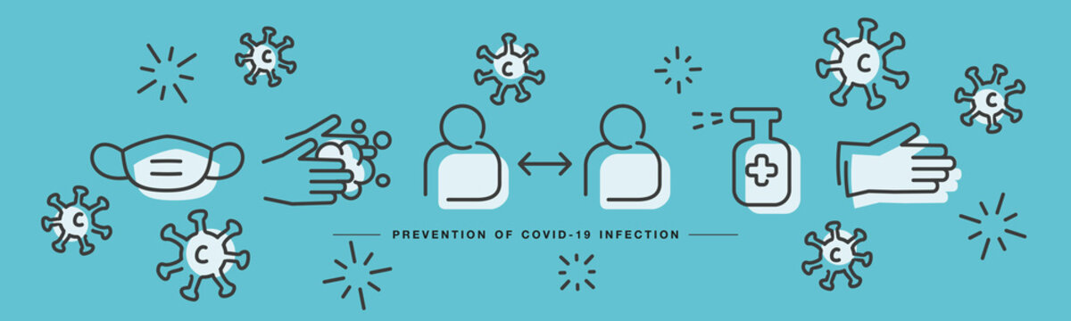 Covid 19 Coronavirus prevention icons handwritten line design virus draw sea green background banner