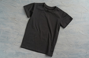 Black color plain t-shirt with copy space close up