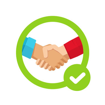 Success agreement confirmation sign with check mark or approved trust partnership decision make and tick symbol vector icon flat, concept of cooperation settlement, positive commitment proposal sign