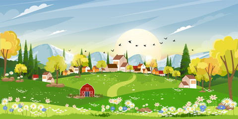 Spring landscape in Sunny day village with meadow on hills with blue sky, Panoramic countryside of green field with farmhouse, barn and grass flowers,Vector Summer or Spring nature background Wall mural