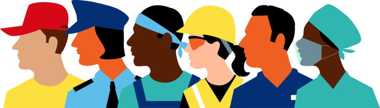 Profile of members of essential workforce, EPS 8 vector illustration