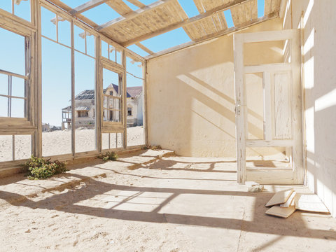 Abandoned ghost diamond town of Kolmanskop in Namibia