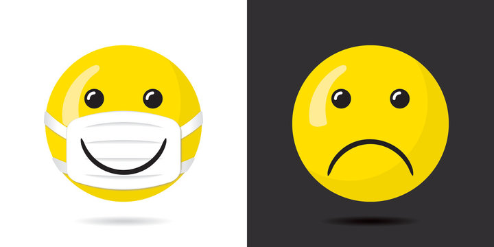 Happy Smiling Face Protected with Mask Having Wide Smile over It and Sad Unprotected Face Coronavirus Pandemy Devoted Concept - Yellow on Black and White Background - Mixed Graphic Design