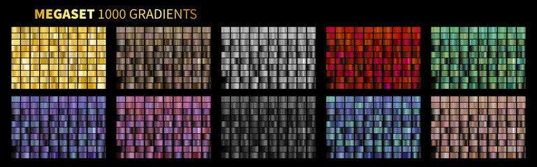 Vector Gradients Megaset Big collection of metallic gradients 1000 glossy colors backgrounds Gold, bronze