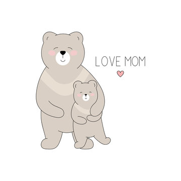 Drawn bear mother and bear cub on white background for mother's day. Vector illustration in cartoon style.
