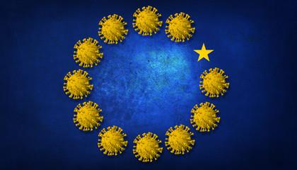 Fototapete - European flag with Coronavirus
