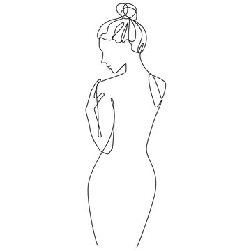 Nude woman silhouette one line drawing on white isolated background. Vector illustration
