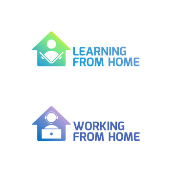 Learning from home and working from home logo designs. Study at home and work at home icon set. Simple and clean icon designs with cool color gradients.