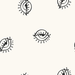 Vector hand drawn eye doodles seamless pattern on light background, modern design