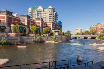 Reno Nevada downtown architecture and river.