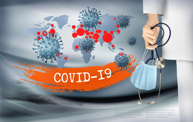 Spoed Fotobehang Wanddecoratie met eigen foto Coranavirus background with doctor holding a protective Medical Surgical Face mask and stethoscope. Disaster gloomy backdrop with virus COVID-19 moleculs. Vector