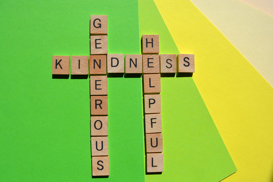 Kindness, Generous, Helpful, words on colorful background