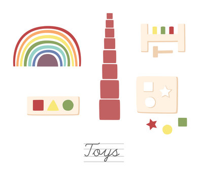 montessori, wooden, toys, shelf, kids, rainbow stacker, pink tower, geometric, school, minimalistic, alphabet, isolated, sign, toy, letter, abstract, icon, symbol, education, illustration, text, color