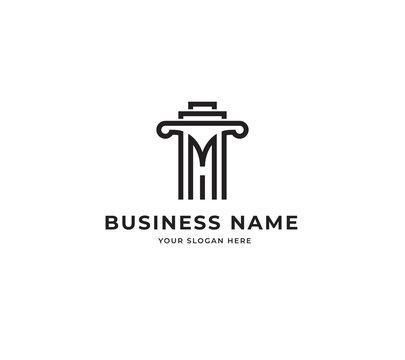initial M H attorney law pillar logo design vector