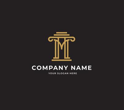 initial M attorney law pillar logo design template