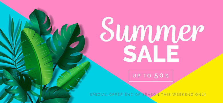 summer sale creative banner with tropical leaves on geometric background
