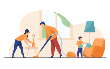 Happy family housekeeping together flat vector illustration. Daughter, mother and father working for household and clean home. Housekeeping and house concept Wall mural