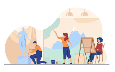 Artists creating artworks flat vector illustration. Creative characters painting, drawing and sculpting at workshop. Studio, graphic design and art concept.