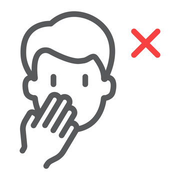 Don t touch face line icon, coronavirus and microorganism, covid 19 sign, vector graphics, a linear pattern on a white background, eps 10.