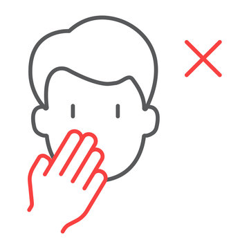 Don t touch face color line icon, coronavirus and microorganism, covid 19 sign, vector graphics, a linear pattern on a white background, eps 10.