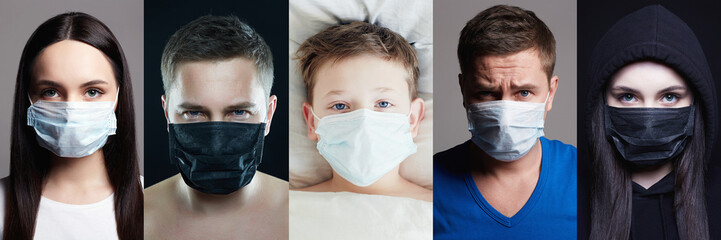 Pandemic Collage. People in Masks. Girl, Man and Child Fotomurales