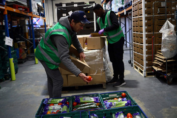 Volunteers sort food and check quality at the FareShare food redistribution centre in Deptford, as the spread of the coronavirus disease (COVID-19) continues, in south east London