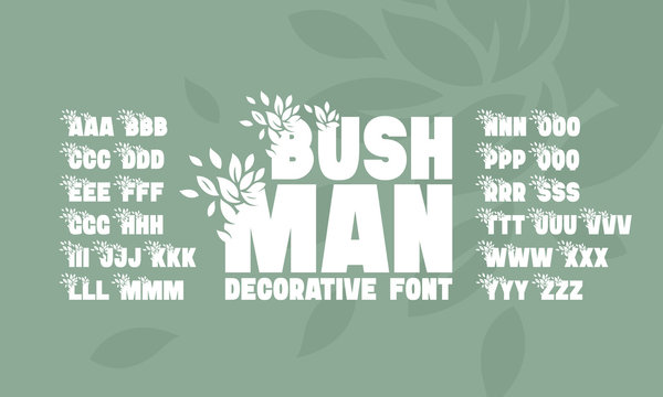 Vector modern creative font set with leaves decoration