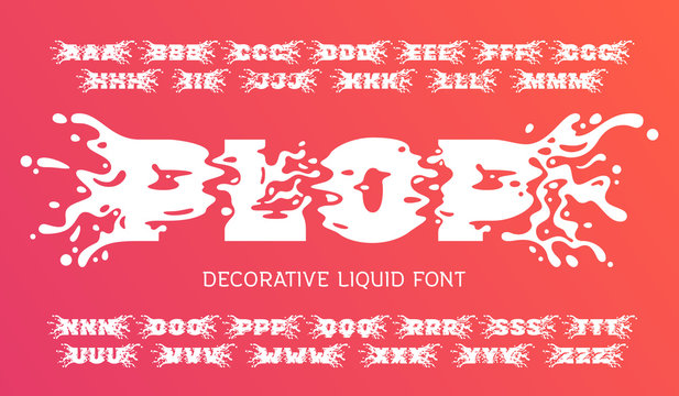 "Vector decorative font set named ""Plop"" with liquid splashes shape"