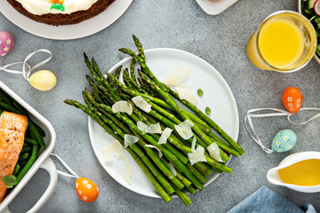 Tuinposter Europa Roasted asparagus with parmesan for Easter brunch