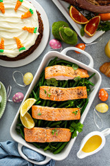 Roasted salmon and green beans for Easter brunch