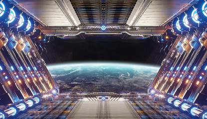 Fototapete - Orange and blue futuristic spaceship interior with window view on planet Earth 3d rendering