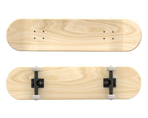 Plywood Popsicle Skateboard Deck. 3D Render Template Isolated on White Background.