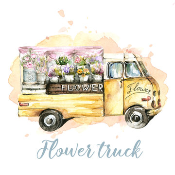 Hand painted watercolor set - pink car truck with flowers on the background of watercolor stain. Provence style