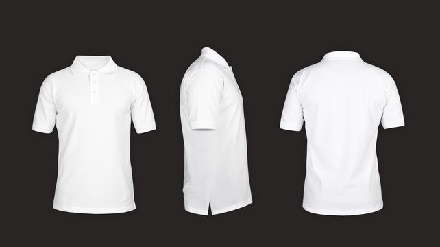 Polo tshirt template, front view, sideways, behind on the grey background