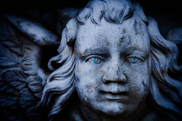 Fototapete - Angel of death. Sad angel as symbol of pain, fear and end of life. Ancient stone statue.